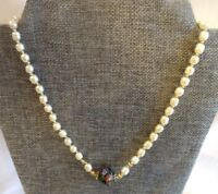 Miriam Haskell Glass Baroque Pearl Necklace with Colorful Cloisonne Center Bead