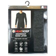HeatKeep Midweight Base Layer Men's Long Sleeve Crew Neck (TMF98402HK) Black XXL