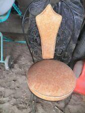 Vintage Mcm Antarenni Black Wrought Iron Patio Dining 4 Chairs Rare Orange Vinyl
