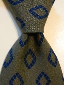 GIORGIO ARMANI Cravatte Silk Necktie ITALY Designer Geometric Green/Blue EUC