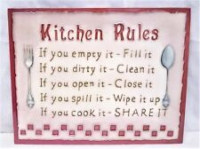 Kitchen Rules Ceramic Wall Art YH Arts 35.5x28cm Plaque Picture Tile Fun Gift