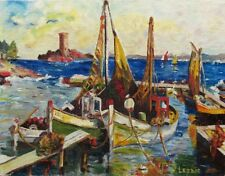Vintage French Painting, Seascape, Provence, Fishermen Boats, WWII Beach, Signed