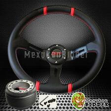 Red Stitch 350mm Deep Dish Steering Wheel & Hub Adapter Honda Civic 1996-2000 EK