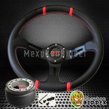 Red Stitch 350mm Deep Dish Steering Wheel & Hub Adapter Toyota Cressida 83-92