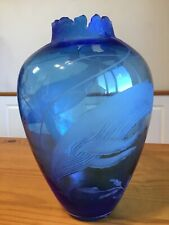 """Cynthia Myers 93 Vase W Whales Blue Beautiful Etching Signed 13"""" Sand Carved Art"""