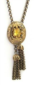 Victorian Revival Slide Lariat Necklace Tassels Yellow Glass Stone