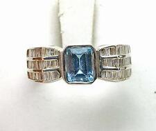 Estate 14k White Gold 2 carat Blue Topaz & 3/4ct. Diamond Ladies Cocktail Ring