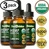 Premium Hemp Oil Drops for Pain Relief, Stress, Keto, Anxiety, Sleep (3 PACK)