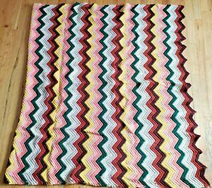 "Vintage Afghan Zig Zag Chevron Throw Blanket Crocheted 52"" x 72"""