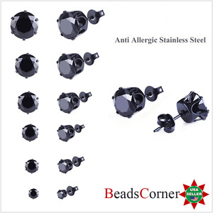 Surgical 316L Stainless Steel Stud Earrings Cubic Zircon Black Men Women 2PC