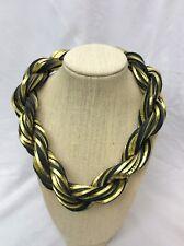 Statement runway Vtg Wilma Spagli  Italy Twist Gold Black Leather necklace