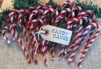 24 Primitive Coffee Stained Chenille Candy Canes Christmas Ornaments w/ hang tag