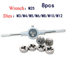 8pc HSS Metric Tap and Die Set M3-M12 T-Handle Wrench Tackle Hand Tool Set