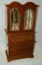 """Vintage Armoire Jewelry Wood Cabinet Stain Glass Doors 25"""""""