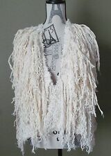 New Free People Pinata Parade Boho Shaggy Fringe Vest Ivory Small S Sold Out!