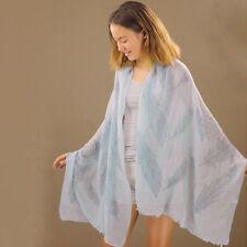 Scarf Blue Feathers Pattern 190cm Long Rectangular Baby & Dark Blue Shawl Wrap