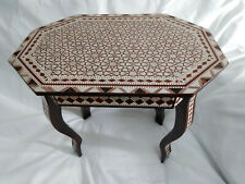 "Egyptian Handmade Beech Wood End Table Inlaid Mother of Pearl (20"")"