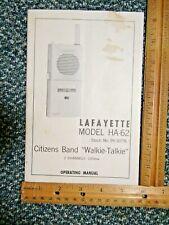 "Lafayette Citizens Band 2 Ch. 100mw ""Walkie Talkie"" Operating Manual w/schematic"
