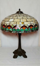 "WILKINSON LEADED GLASS LAMP, 18"" RIBBON PATTERN w 3 LT ORIGINAL BASE TIFFANY ERA"