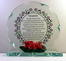 Footprints poem gift Present Cut Glass plaque Unusual occasion  plaque  #8