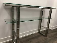 Bouclair Elegant Glass And Chrome Narrow Console Table With Removable Inserts