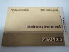 Alfa Romeo 1984 Gtv-6 Maintenance Program Book owners manual