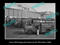 OLD LARGE HISTORICAL PHOTO OF TEXACO OIL COMPANY TRUCKS TWA AIRLINES c1960s