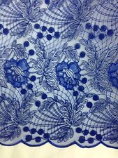 1 Metre Royal Blue  Embroidery Net Lace  Floral Non Stretch Fabric