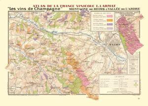 CHAMPAGNE VINEYARD MAP Montagne de Reims. Vallée de l'Ardre. Écueil. LARMAT 1944