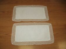 2 oblong vintage crochet crocheted with cotton center doilie white