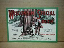 Wisconsin Special Irtp 12 Oz Beer Lbel-Dahkle Brg.,Westfield,Wis.