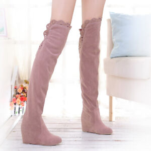 Womens Suede Hidden Heel Over The Knee High Thigh Boots Nightclub Shoes