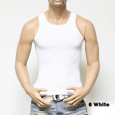 6 Mens Black WHT Tank Top 100% Cotton A-Shirt Wife Beater Ribbed Pack Undershirt