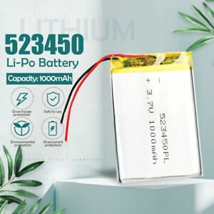 1000mah 3.7V 523450 lithium-ion Polymer lipo Rechargeable batteries For Smart Ph