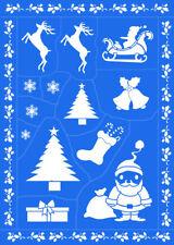 Christmas DIY Kids Reusable Sticky Stencils Template Pattern Decor Craft Paint