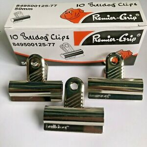 10 x Large Original Bulldog Grip Clips  Metal Medium 50mm 2 inch 477757
