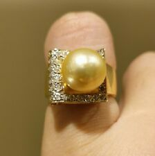 SALE 14k Yellow Gold Ring With Diamonds And Pearl
