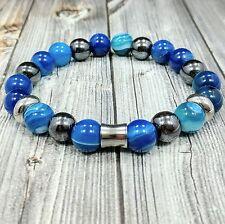 """8""""L STAINLESS STEEL 10mm Blue Agate+Hematite Gemstone Beaded Men's Bracelet"""
