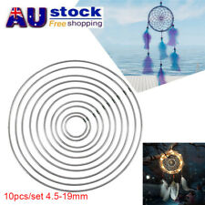 AU 10pc 4.5-19mm Strong Metal Round Dreamcatcher Ring Macrame Craft Hoop Eyeable