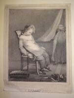 Claude Marie DUBUFE Litho PORTRAIT JEUNE ENFANT SOMMEIL JOUETS ROMANTISME 1830