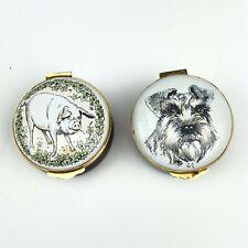 Lot 2 Crummles & Co. Halcyon Days Schnauzer & Pig Hand Painted Trinket Boxes Qen