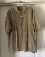 Men's Geoffrey Beene Medium Dark Tan Polo Shirt SS Golf Rugby Collar EUC Size XL