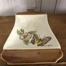Vintage Alice Ceramic Double Spoon Rest Made In Japan Floral Butterfly 1979