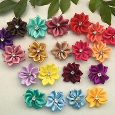 10 pcs Satin Ribbon Flowers Bows Rose Sewing Wedding Appliques #213