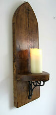 LARGE 70CM GOTHIC ARCH RUSTIC RECLAIMED SOLID WOOD WALL SCONCE CANDLE HOLDER