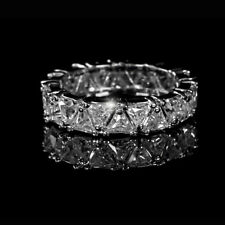 3CT TRIANGLE CUT FULL ETERNITY RING 14K WHITE GOLD ANNIVERSARY BAND WEDDING RING