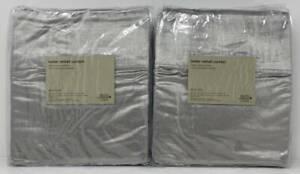 West Elm Luster Velvet Drape Curtain (2) ~ 48 x 84 ~ Platinum Gray ~ Silver
