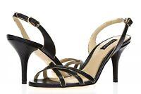 DOLCE GABBANA Womens Black Leather Buckles Slides Slim Heels Sandals Size 37