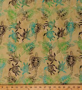Cotton Batik Turtles Animals Ocean Land Sea Tan Fabric Print by the Yard D303.51