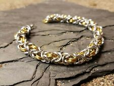 Chainmaille bracelet anodized aluminum Silver and gold byzantine